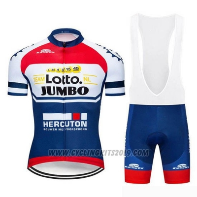 2019 Cycling Jersey Lotto NL-Jumbo Blue White Red Short Sleeve and Bib Short