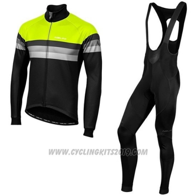 2019 Cycling Jersey Nalini Warm 2.0 Black Green Long Sleeve and Bib Tight
