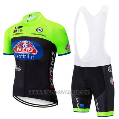 2019 Cycling Jersey Neri Italy Green Black Short Sleeve and Bib Short