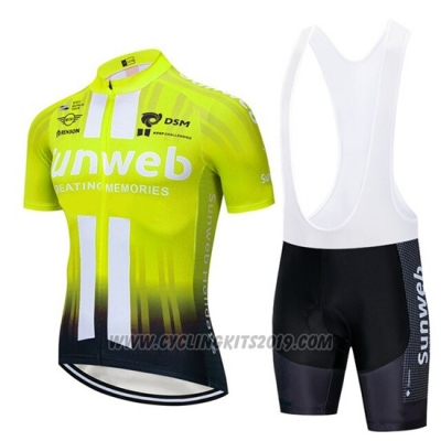 2019 Cycling Jersey Sunweb Yellow White Short Sleeve and Bib Short