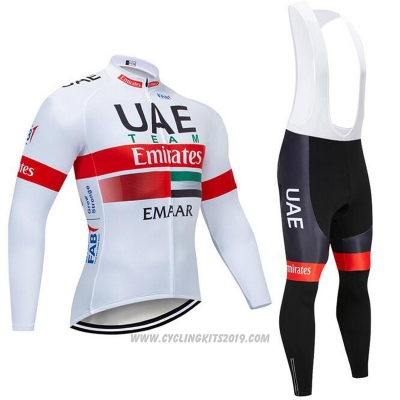 2019 Cycling Jersey UCI World Champion Uae White Red Long Sleeve and Bib Tight