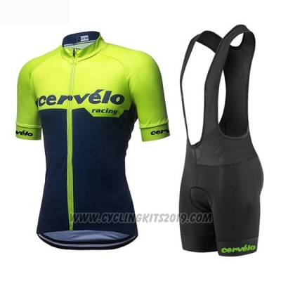 2019 Cycling Jersey Women Cervelo Green Black Short Sleeve and Bib Short