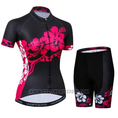 2019 Cycling Jersey Women Weimostar Black Pink Short Sleeve and Bib Short