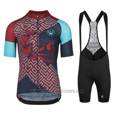 2020 Cycling Jersey Assos Fastlane Wyndymilla Red Blue Short Sleeve and Bib Short