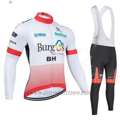 2020 Cycling Jersey Burgos BH White and Red Long Sleeve and Bib Tight