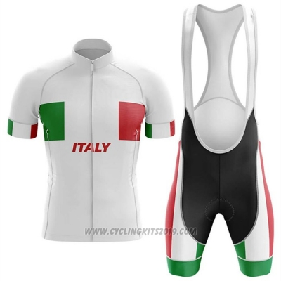 2020 Cycling Jersey Italy White Short Sleeve and Bib Short
