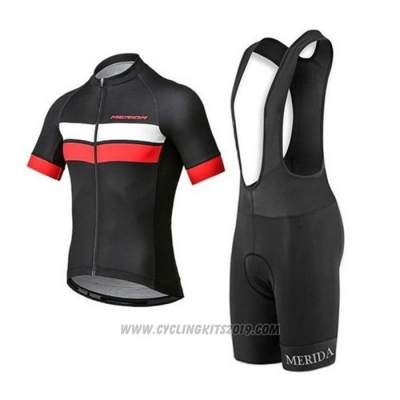 2020 Cycling Jersey Merida Black White Red Short Sleeve and Bib Short