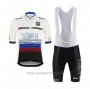 2020 Cycling Jersey Slovakia White Black Blue Short Sleeve and Bib Short