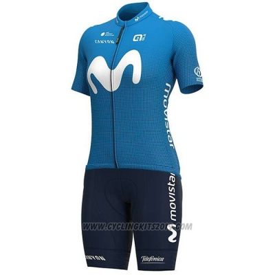 2020 Cycling Jersey Women Movistar White Blue Short Sleeve and Bib Short