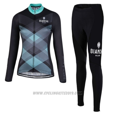 Cycling Jersey Women Bianchi Milano Cornedo Black Blue Long Sleeve and Bib Tight