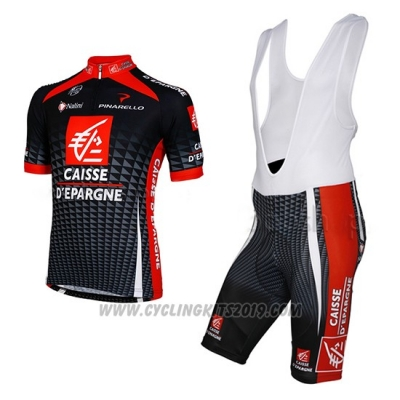 2010 Cycling Jersey Caisse D Epargne Black and White Short Sleeve and Bib Short