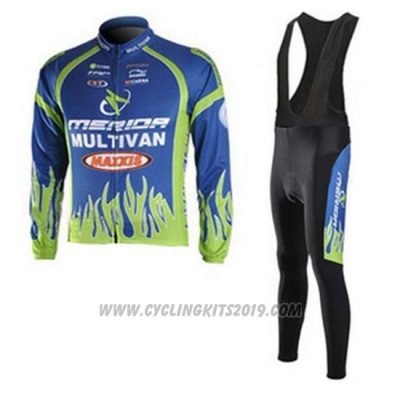 2010 Cycling Jersey Merida Blue and Green Long Sleeve and Bib Tight