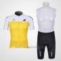 2011 Cycling Jersey Assos White and Yellow Short Sleeve and Bib Short