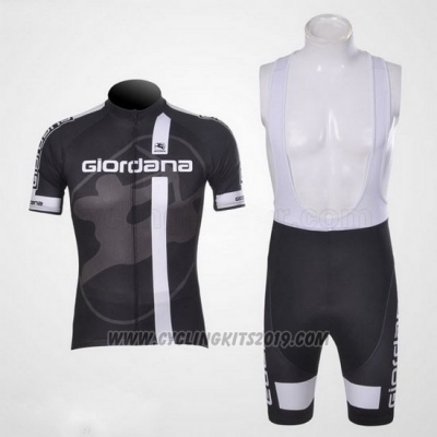 2011 Cycling Jersey Giordana White Black Short Sleeve and Bib Short