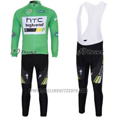 2011 Cycling Jersey HTC Highroad Green and White Long Sleeve and Bib Tight
