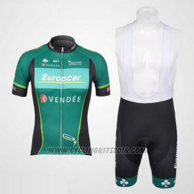 2012 Cycling Jersey Europcar Green Short Sleeve and Bib Short