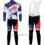 2012 Cycling Jersey Lotto Belisol White and Blue Long Sleeve and Bib Tight