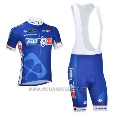 2013 Cycling Jersey FDJ Blue Short Sleeve and Bib Short