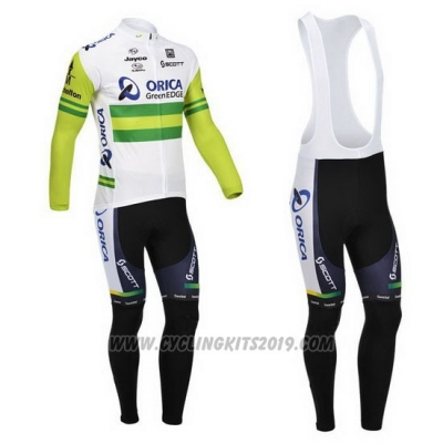 2013 Cycling Jersey Orica GreenEDGE White and Green Long Sleeve and Bib Tight
