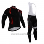 2015 Cycling Jersey Castelli Bright Black Long Sleeve and Bib Tight