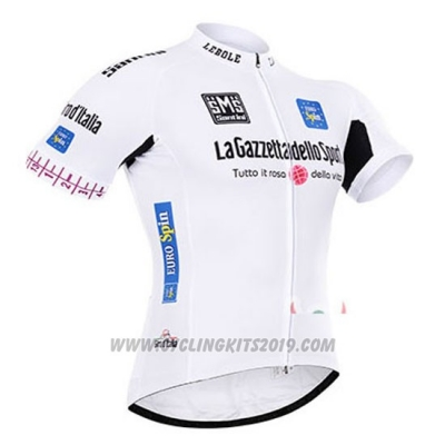 2015 Cycling Jersey Giro D'italy White Short Sleeve and Bib Short