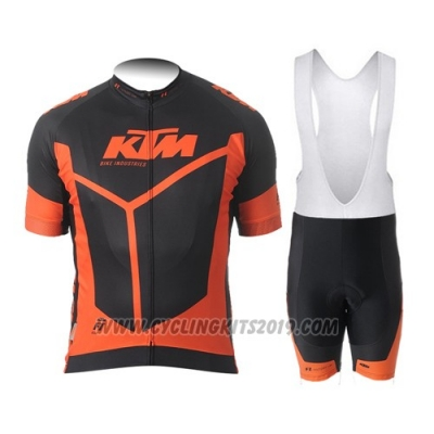 2015 Cycling Jersey Ktm Orange and Black Short Sleeve and Salopette