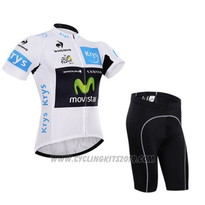 2015 Cycling Jersey Movistar Lider White Short Sleeve and Bib Short