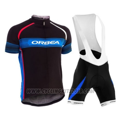 2015 Cycling Jersey Orbea Black and Sky Blue Short Sleeve and Bib Short