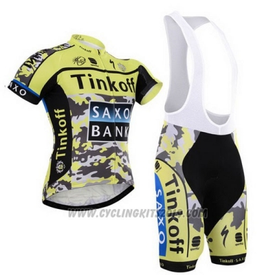 2015 Cycling Jersey Tinkoff Saxo Bank Black and Yellow Short Sleeve and Bib Short