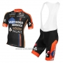 2015 Cycling Jersey Vastgoedservice Golden Palace Black and Orange Short Sleeve and Bib Short
