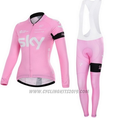 2015 Cycling Jersey Women Sky Fuchsia Long Sleeve and Bib Tight