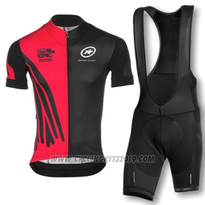 2016 Cycling Jersey Assos Red and Black Short Sleeve and Bib Short
