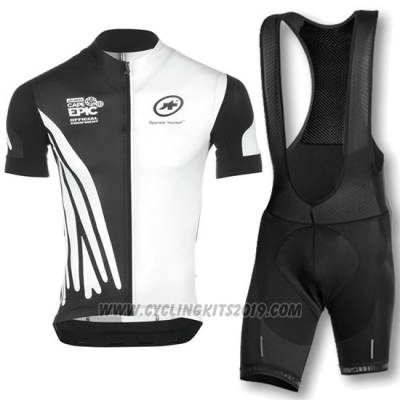 2016 Cycling Jersey Assos White and Black Short Sleeve and Bib Short