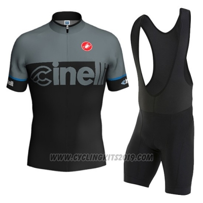 2016 Cycling Jersey Cinelli Black and Gray Short Sleeve and Bib Short