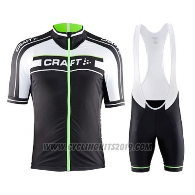 2016 Cycling Jersey Craft Green and Black Short Sleeve and Bib Short