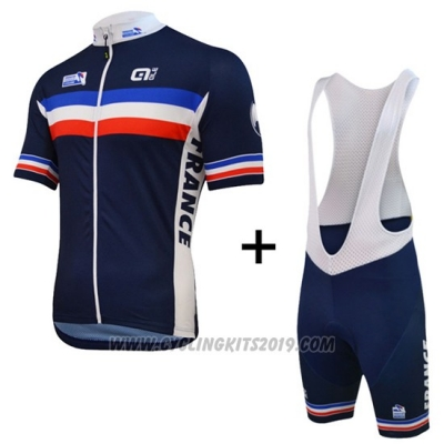 2016 Cycling Jersey France Blue and White Short Sleeve and Bib Short