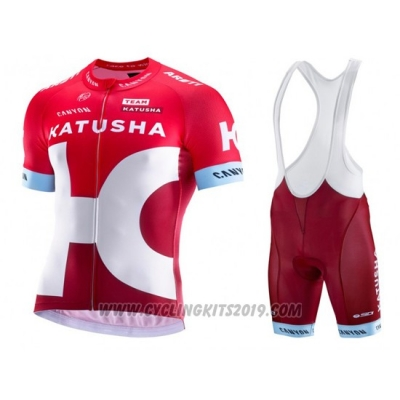 2016 Cycling Jersey Katusha Alpecin White and Red Short Sleeve and Bib Short
