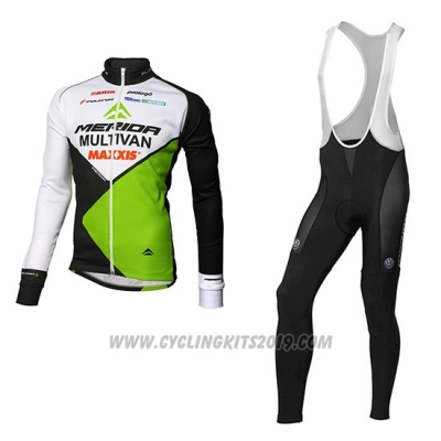 2016 Cycling Jersey Multivan Merida Green and White Long Sleeve Bib Short