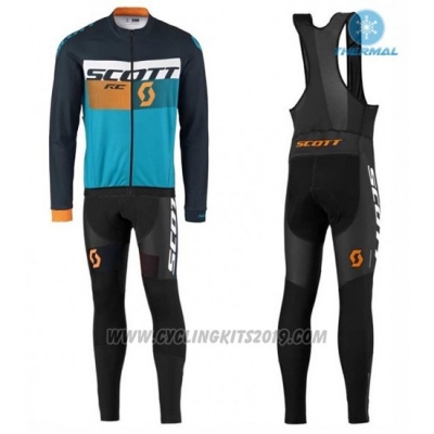 2016 Cycling Jersey Scott Black and Blue Long Sleeve and Salopette