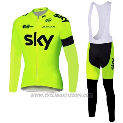 2016 Cycling Jersey Sky Green Long Sleeve and Bib Tight