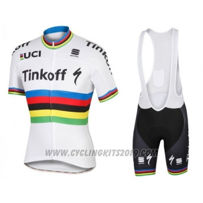 2016 Cycling Jersey UCI Mondo Campione Tinkoff White Short Sleeve and Bib Short