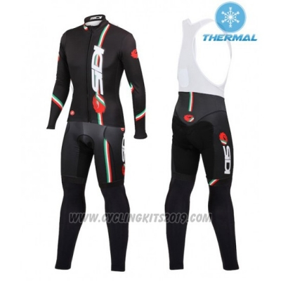 2016 Cycling Jersey Women Castelli Deep Black Long Sleeve and Bib Tight