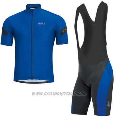 2017 Cycling Jersey Gore Bike Wear Power Blue Short Sleeve and Bib Short