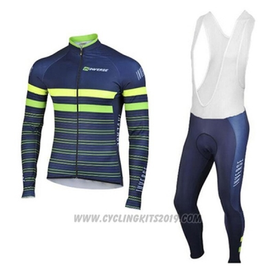 2017 Cycling Jersey Inverse Blue Long Sleeve and Bib Tight
