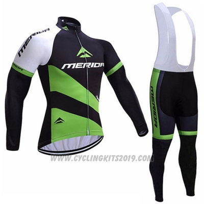 2017 Cycling Jersey Merida Black and Green Long Sleeve and Bib Tight