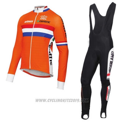 2017 Cycling Jersey Netherlands Orange Long Sleeve and Bib Tight