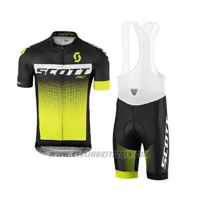 2017 Cycling Jersey Scott Yellow Short Sleeve and Salopette