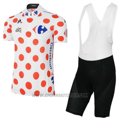 2017 Cycling Jersey Tour de France White and Red Short Sleeve and Bib Short