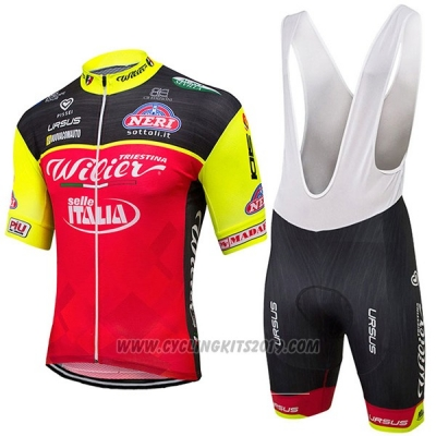 2017 Cycling Jersey Wieiev Italy Red and Yellow Short Sleeve Bib Short
