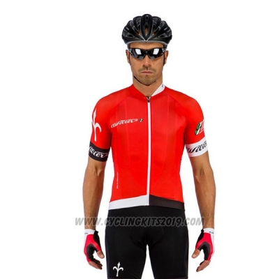 2017 Cycling Jersey Wieiev Red and White Short Sleeve and Bib Short